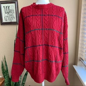 Vintage Red Holiday Cable Knit Oversized Sweater